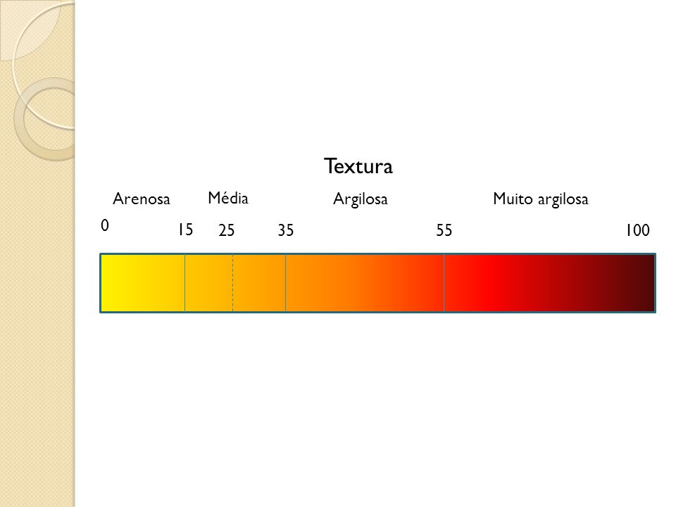 Textura Arenosa Média Argilosa Muito argilosa 15 25 35 55 100
