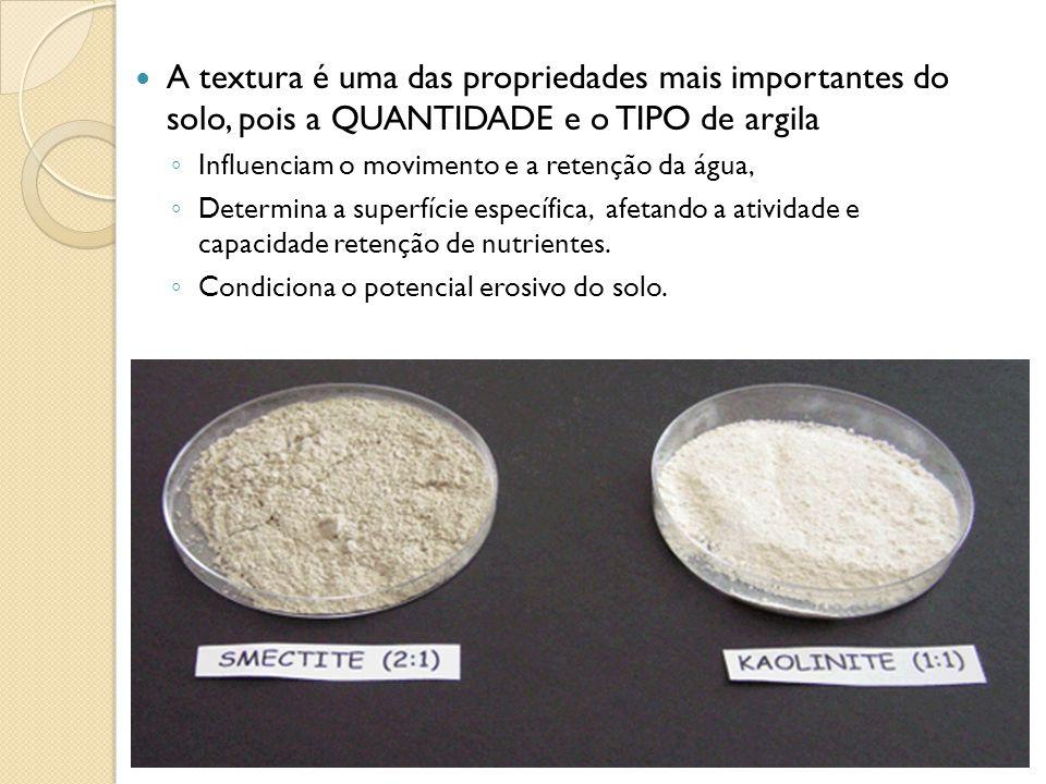 A textura é uma das propriedades mais importantes do solo, pois a QUANTIDADE e o TIPO de argila