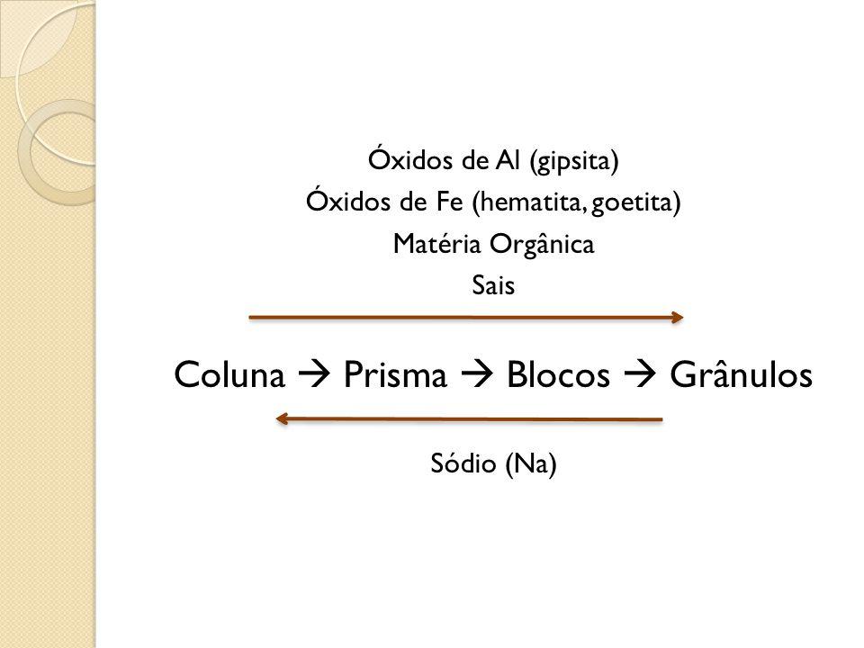 Coluna  Prisma  Blocos  Grânulos
