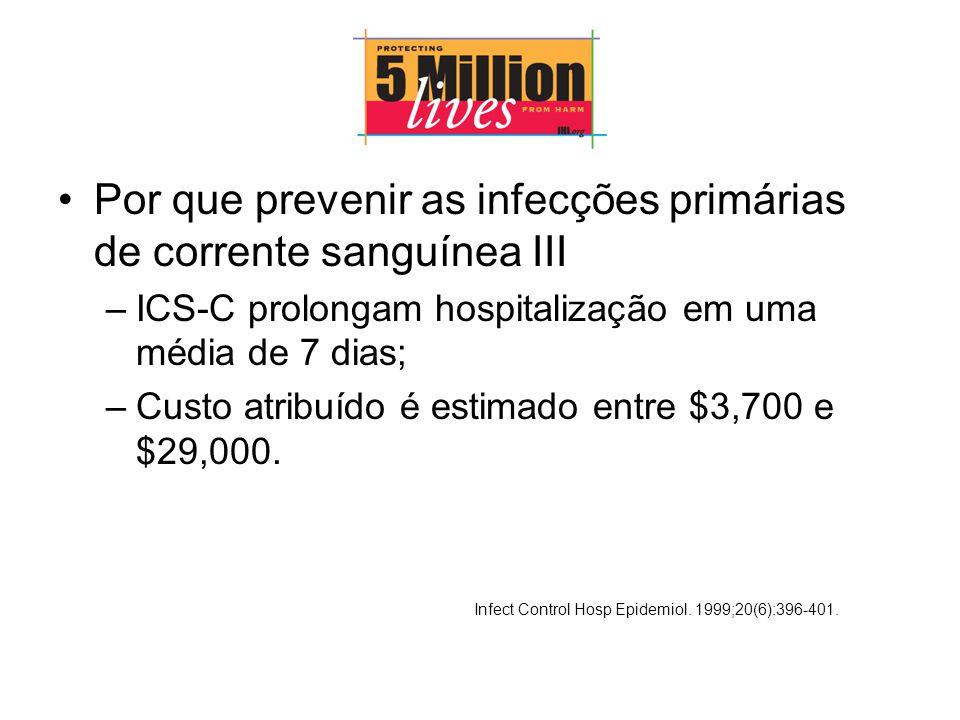 Por que prevenir as infecções primárias de corrente sanguínea III
