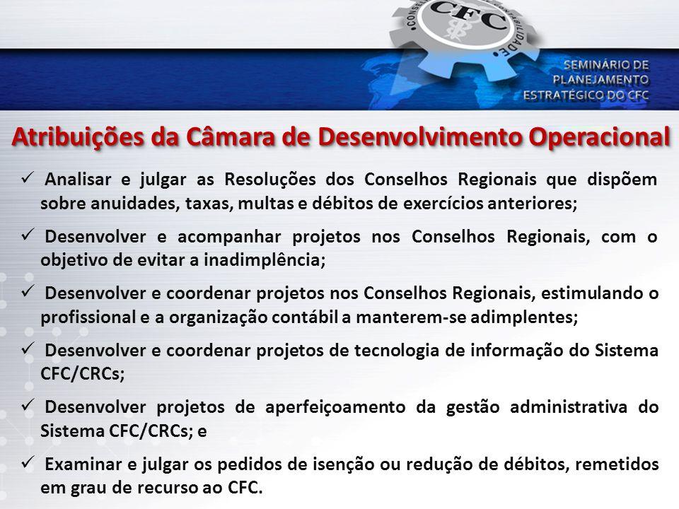 Atribuições da Câmara de Desenvolvimento Operacional