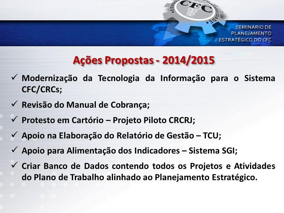 Ações Propostas - 2014/2015 Modernização da Tecnologia da Informação para o Sistema CFC/CRCs; Revisão do Manual de Cobrança;