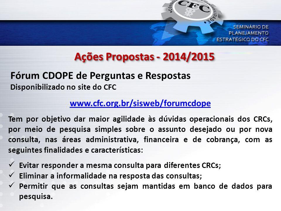Ações Propostas - 2014/2015 www.cfc.org.br/sisweb/forumcdope