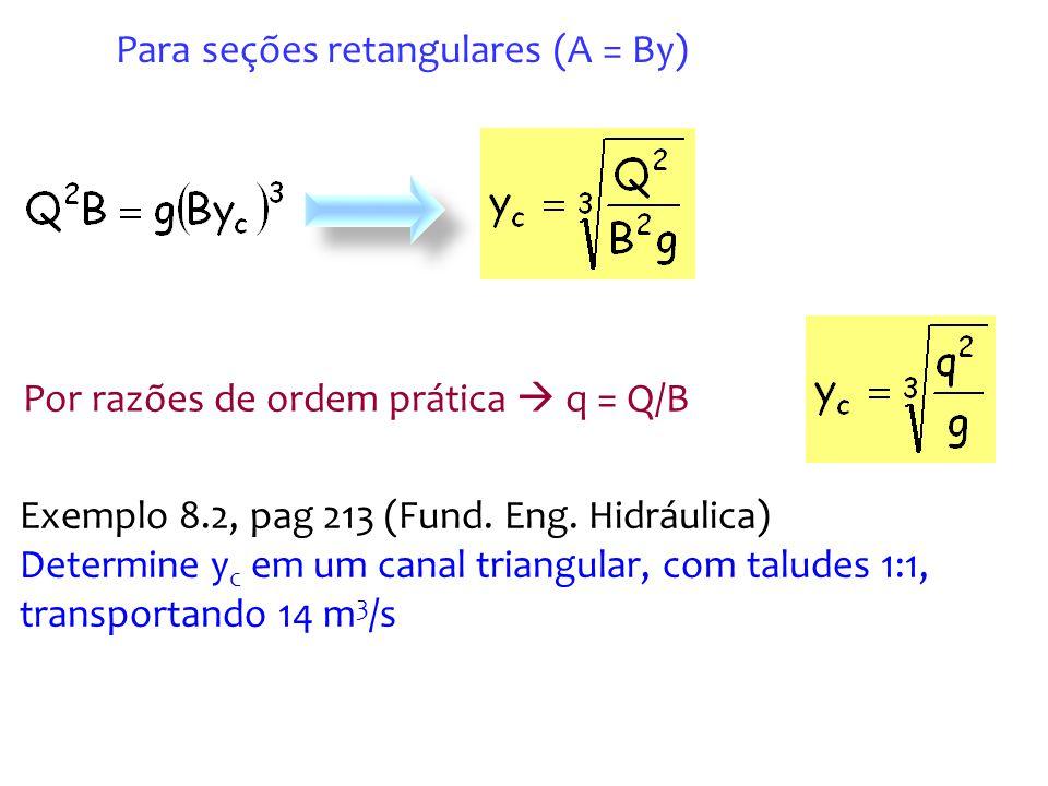 Para seções retangulares (A = By)