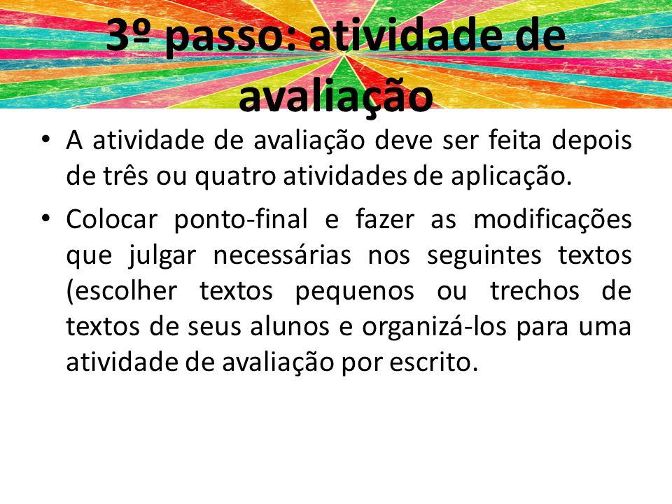 3º passo: atividade de avaliação