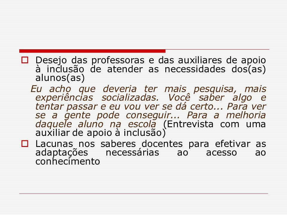 Desejo das professoras e das auxiliares de apoio à inclusão de atender as necessidades dos(as) alunos(as)