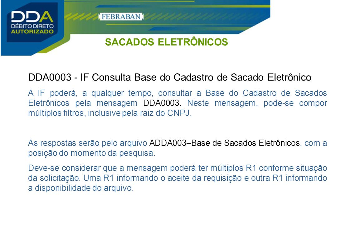 DDA0003 - IF Consulta Base do Cadastro de Sacado Eletrônico