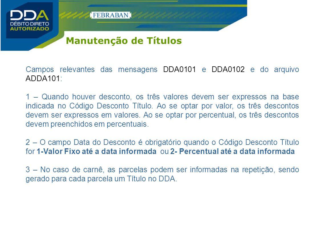 Manutenção de Títulos Campos relevantes das mensagens DDA0101 e DDA0102 e do arquivo ADDA101: