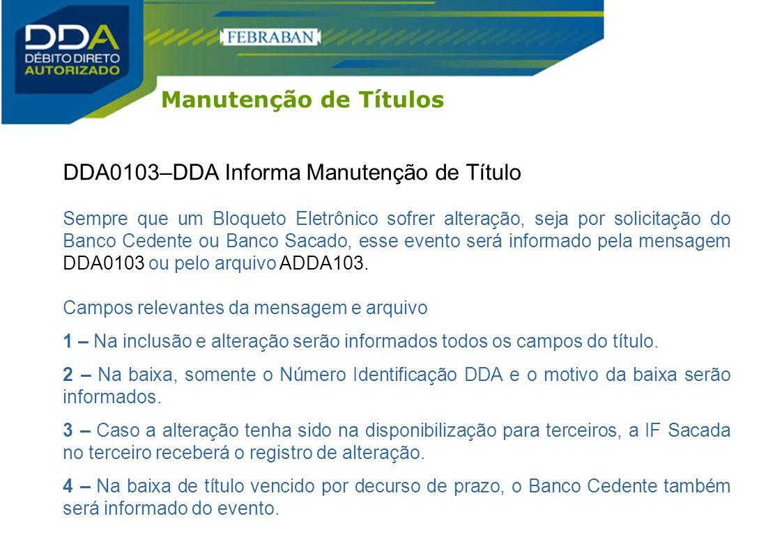 DDA0103–DDA Informa Manutenção de Título