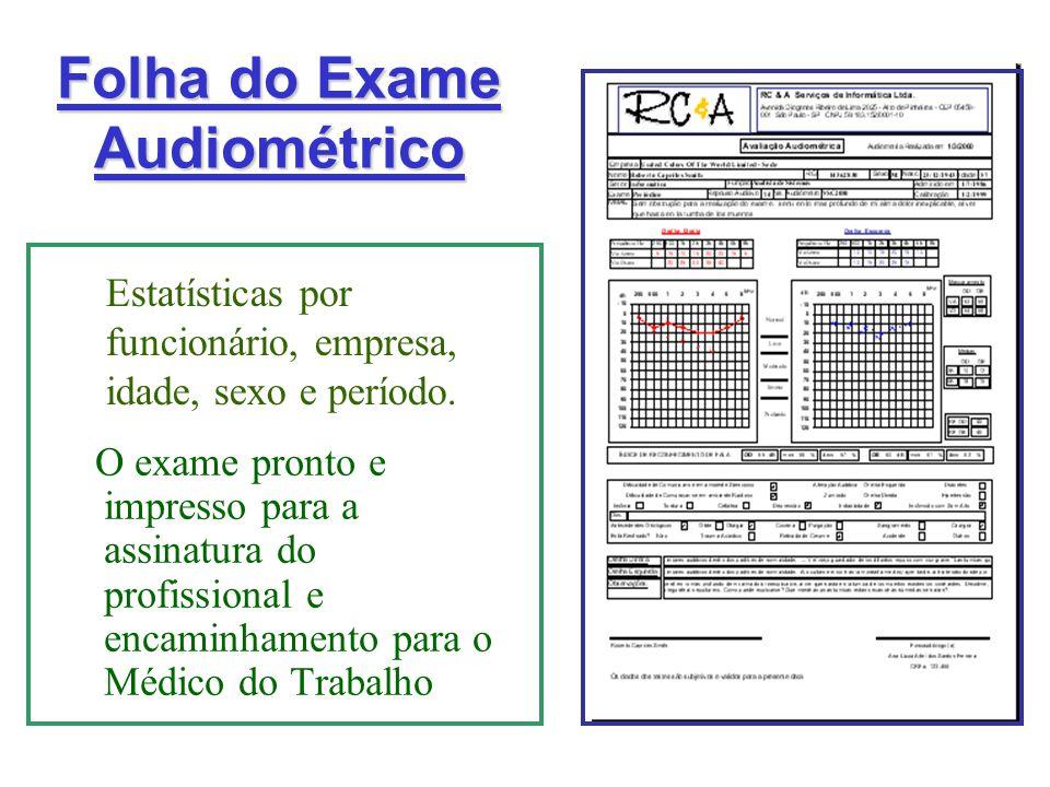 Folha do Exame Audiométrico