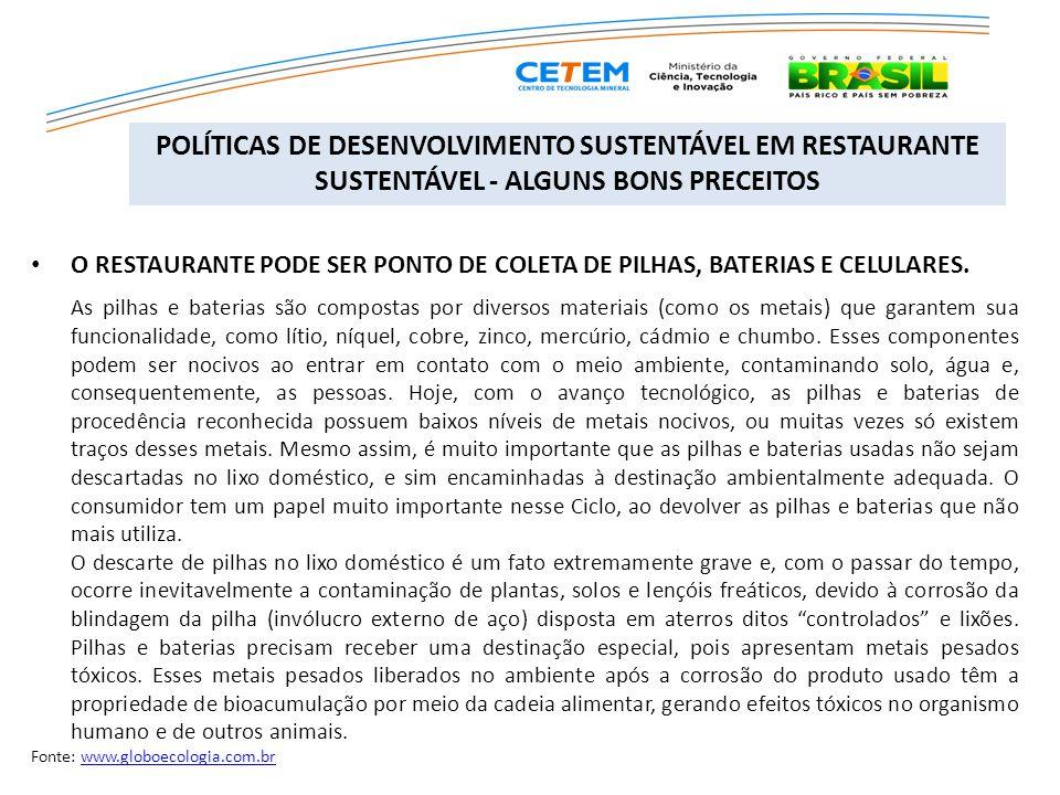 POLÍTICAS DE DESENVOLVIMENTO SUSTENTÁVEL EM RESTAURANTE SUSTENTÁVEL - ALGUNS BONS PRECEITOS