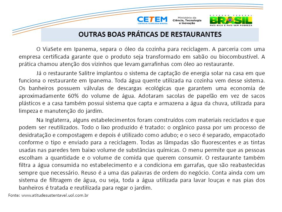 OUTRAS BOAS PRÁTICAS DE RESTAURANTES