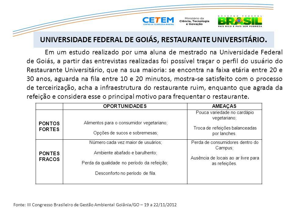 UNIVERSIDADE FEDERAL DE GOIÁS, RESTAURANTE UNIVERSITÁRIO.