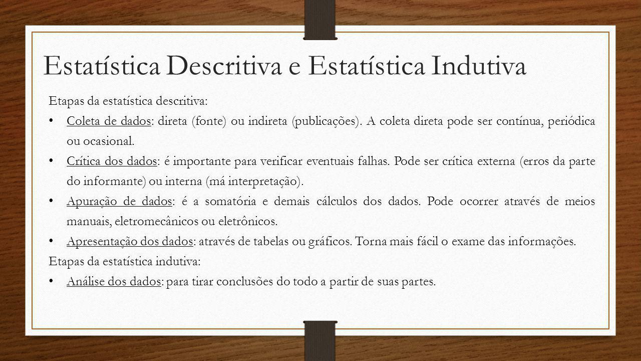 Estatística Descritiva e Estatística Indutiva