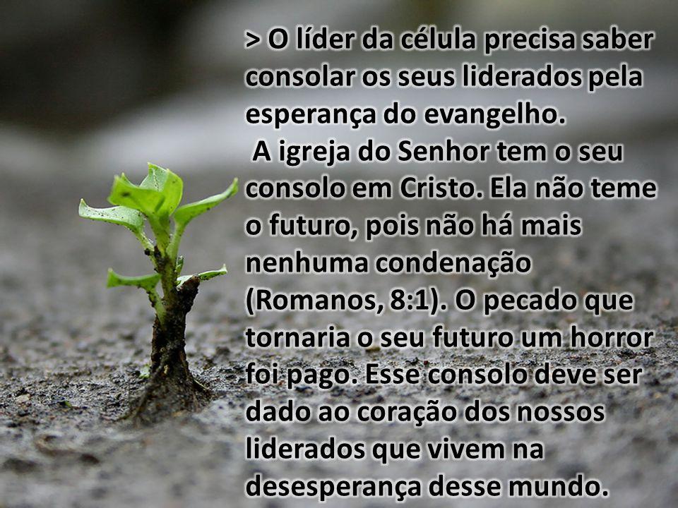 > O líder da célula precisa saber consolar os seus liderados pela esperança do evangelho.
