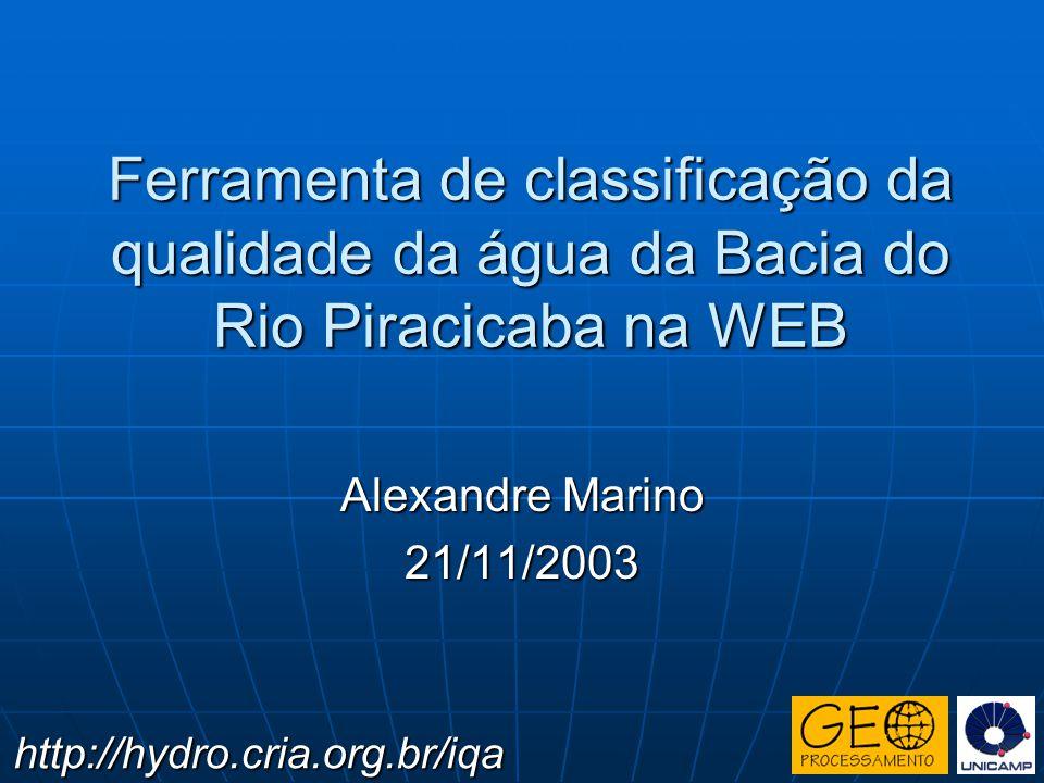 Ferramenta de classificação da qualidade da água da Bacia do Rio Piracicaba na WEB