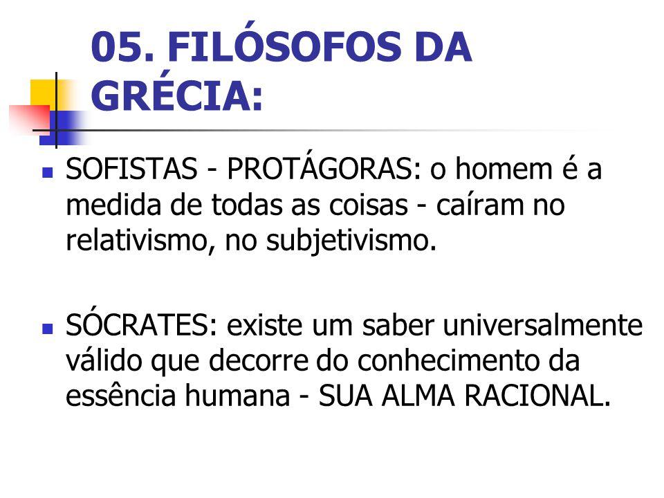 05. FILÓSOFOS DA GRÉCIA: SOFISTAS - PROTÁGORAS: o homem é a medida de todas as coisas - caíram no relativismo, no subjetivismo.