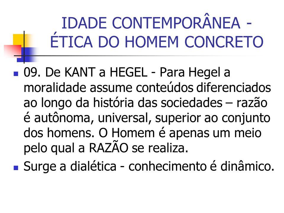 IDADE CONTEMPORÂNEA - ÉTICA DO HOMEM CONCRETO