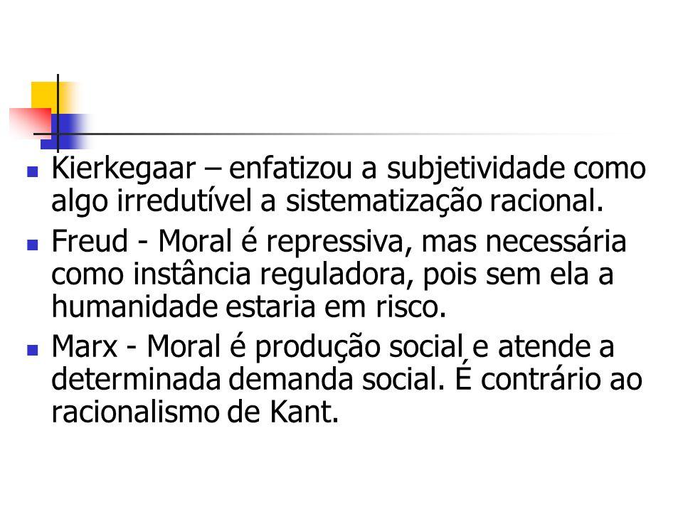 Kierkegaar – enfatizou a subjetividade como algo irredutível a sistematização racional.