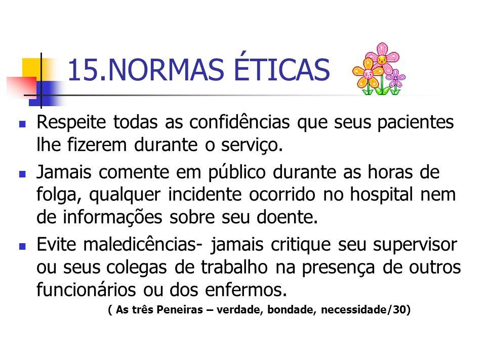 15.NORMAS ÉTICAS Respeite todas as confidências que seus pacientes lhe fizerem durante o serviço.