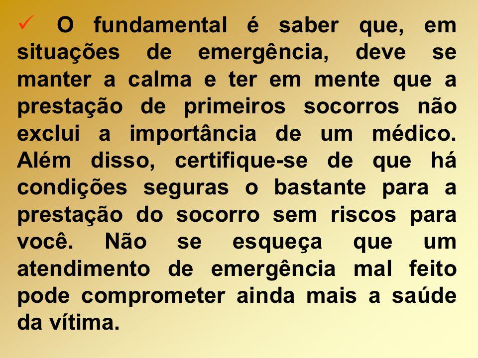 O fundamental é saber que, em situações de emergência, deve se manter a calma e ter em mente que a prestação de primeiros socorros não exclui a importância de um médico.
