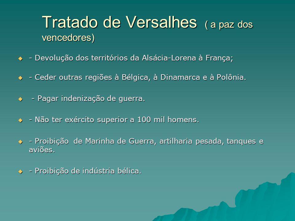 Tratado de Versalhes ( a paz dos vencedores)