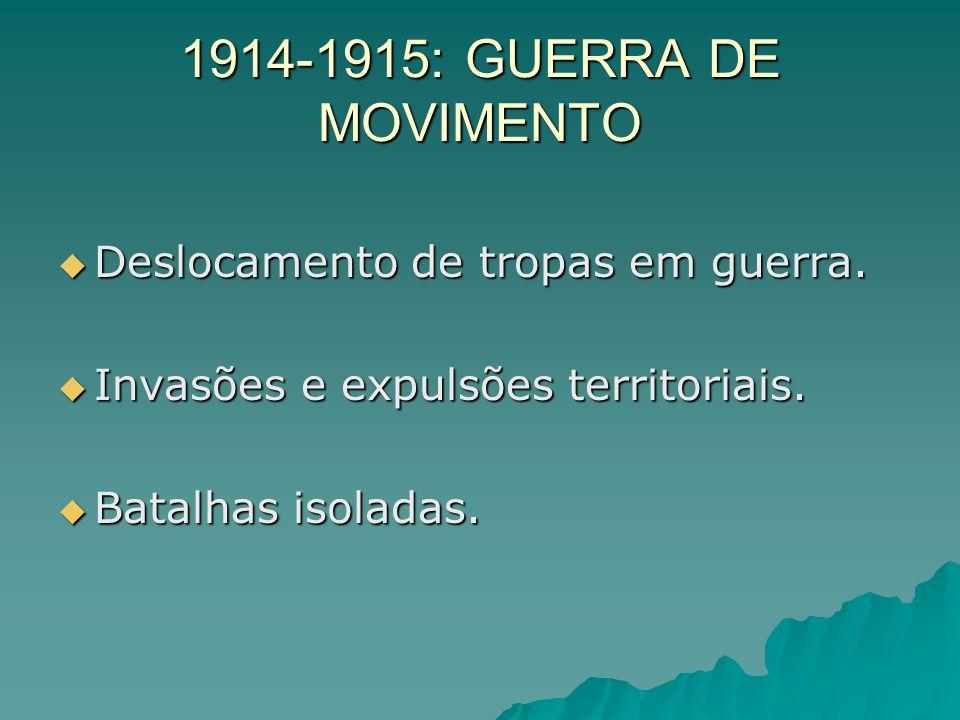 1914-1915: GUERRA DE MOVIMENTO Deslocamento de tropas em guerra.