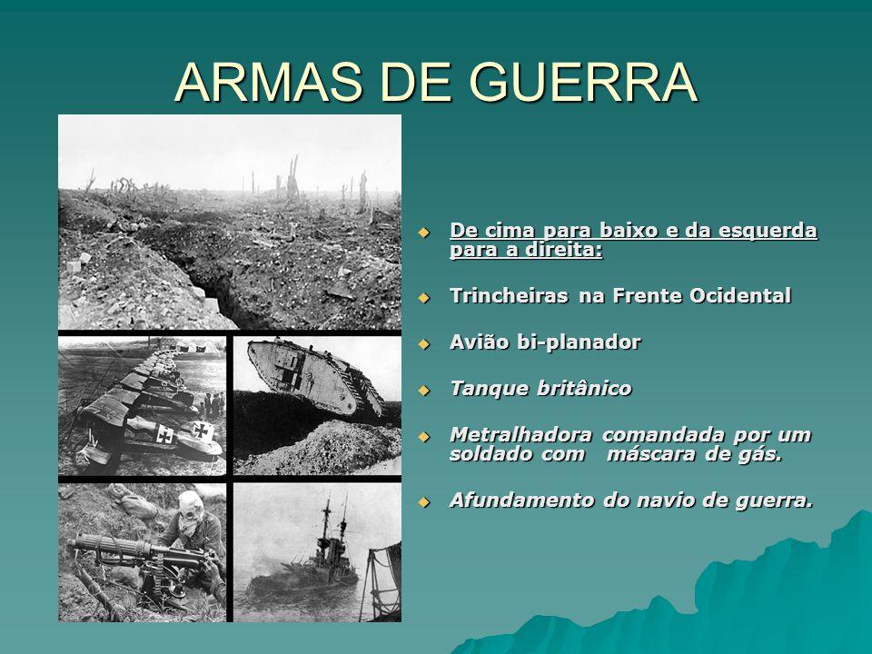 ARMAS DE GUERRA De cima para baixo e da esquerda para a direita: