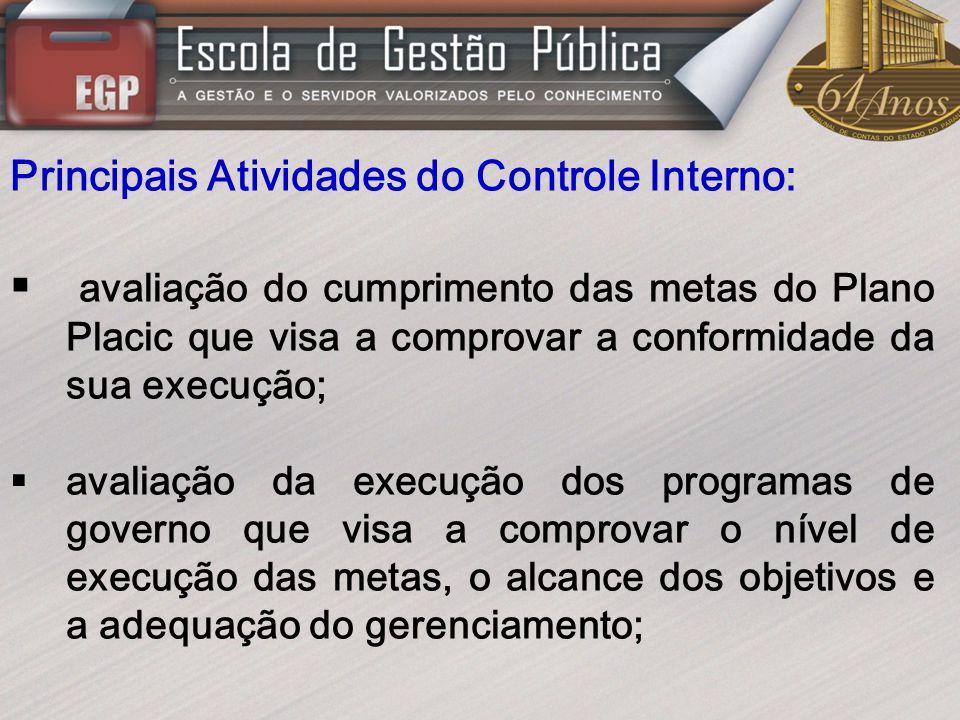 Principais Atividades do Controle Interno: