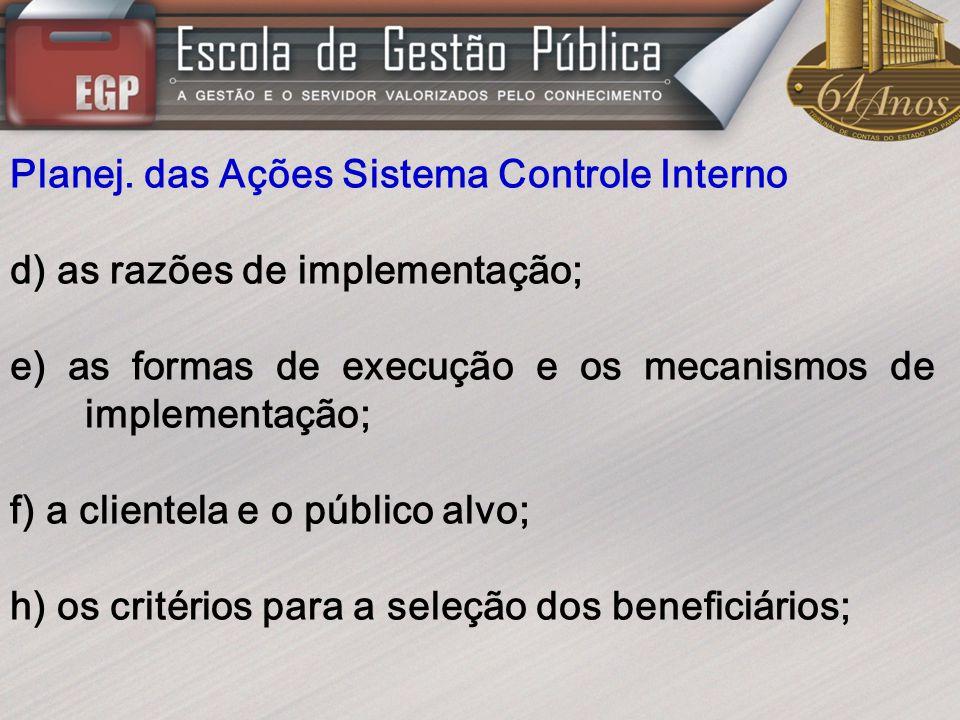 Planej. das Ações Sistema Controle Interno