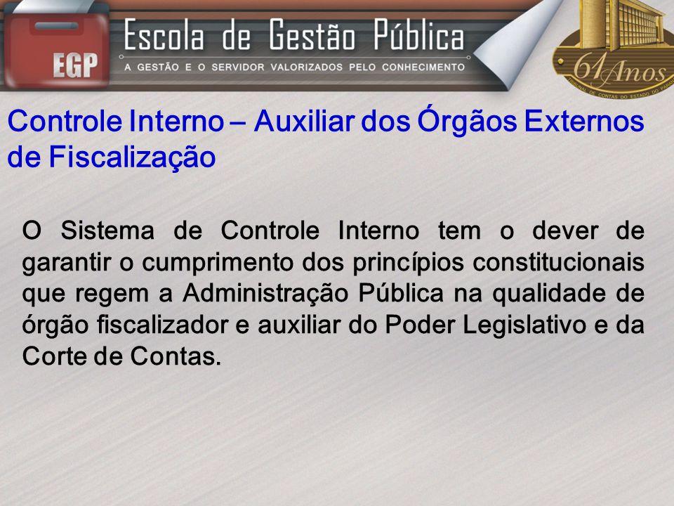 Controle Interno – Auxiliar dos Órgãos Externos de Fiscalização