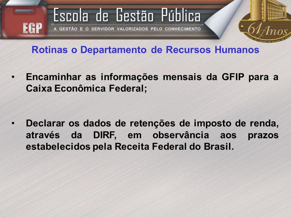 Rotinas o Departamento de Recursos Humanos