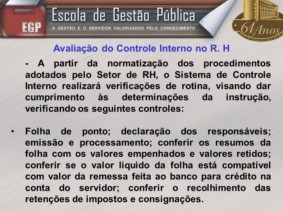 Avaliação do Controle Interno no R. H