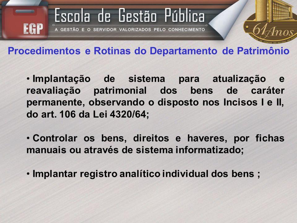 Procedimentos e Rotinas do Departamento de Patrimônio