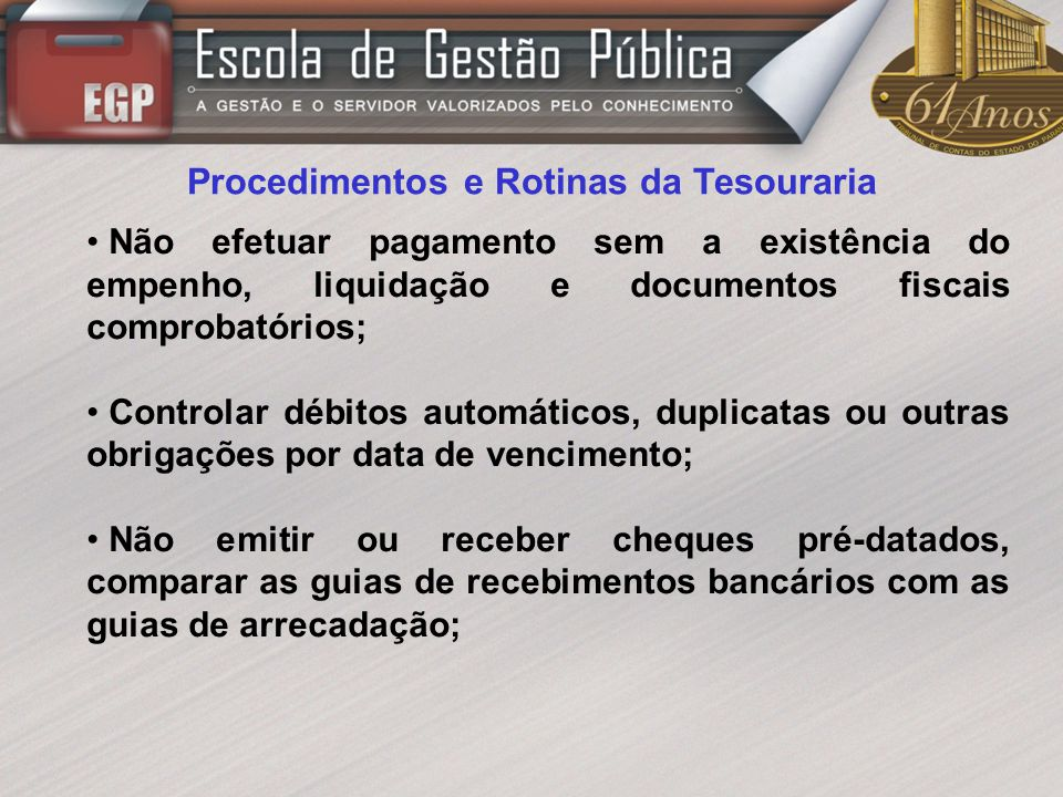 Procedimentos e Rotinas da Tesouraria