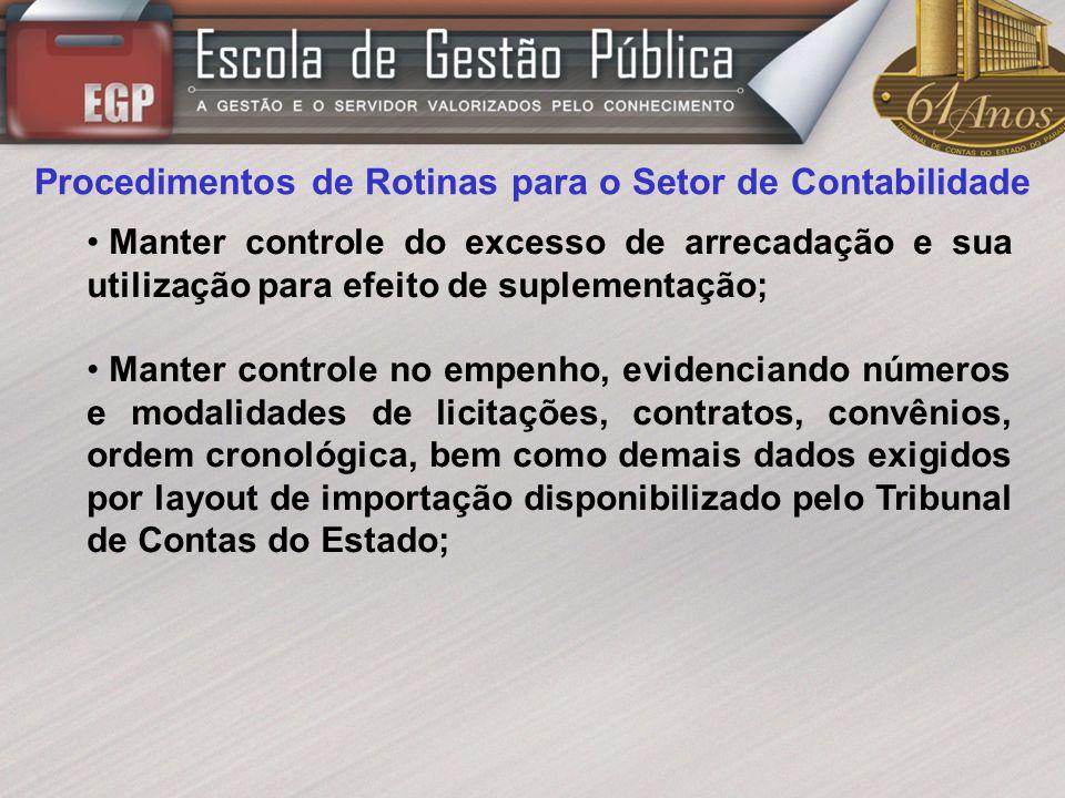 Procedimentos de Rotinas para o Setor de Contabilidade