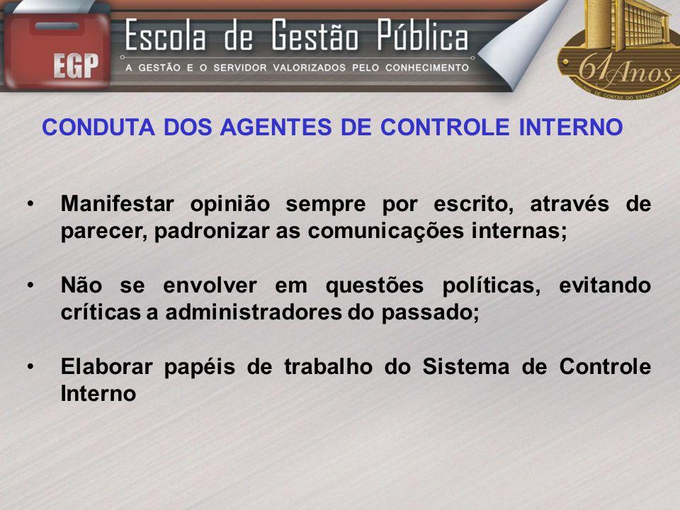 CONDUTA DOS AGENTES DE CONTROLE INTERNO
