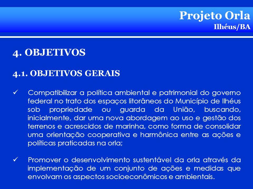 Projeto Orla 4. OBJETIVOS 4.1. OBJETIVOS GERAIS Ilhéus/BA