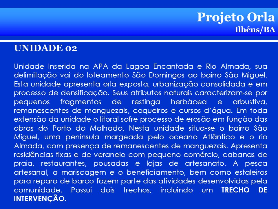 Projeto Orla UNIDADE 02 Ilhéus/BA