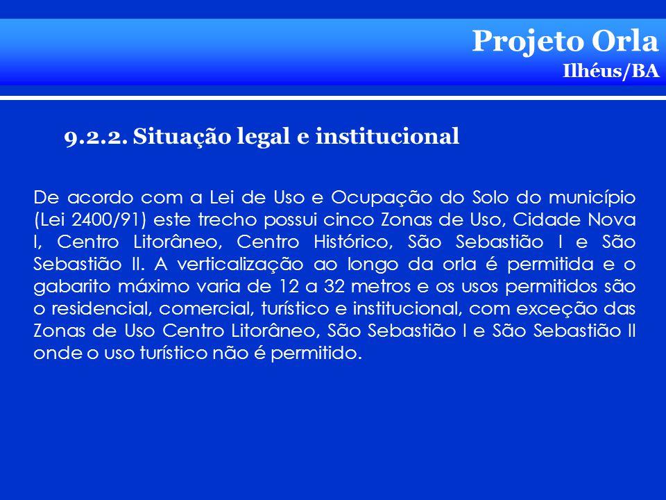 Projeto Orla 9.2.2. Situação legal e institucional Ilhéus/BA