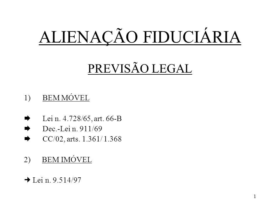 ALIENAÇÃO FIDUCIÁRIA PREVISÃO LEGAL BEM MÓVEL