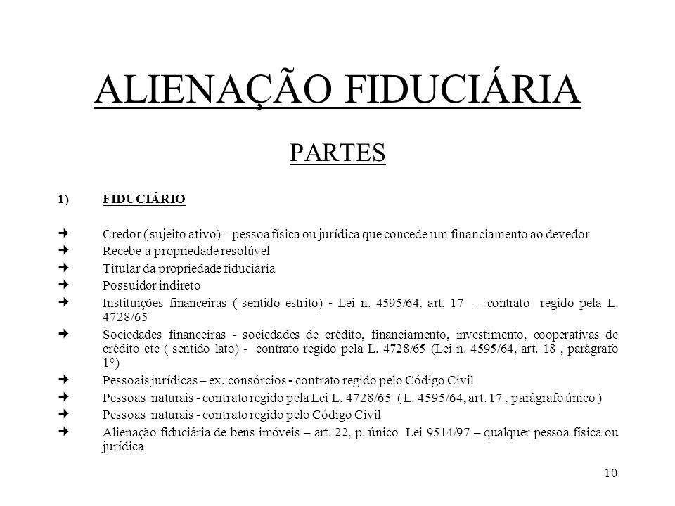 ALIENAÇÃO FIDUCIÁRIA PARTES FIDUCIÁRIO