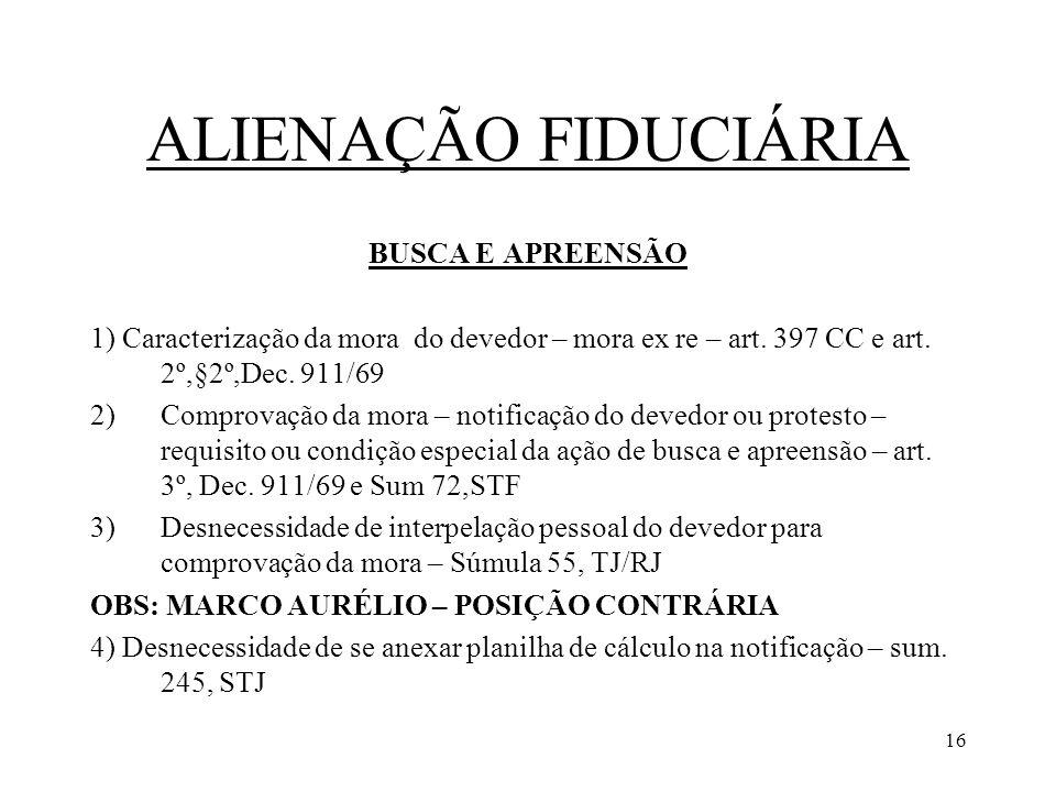 ALIENAÇÃO FIDUCIÁRIA BUSCA E APREENSÃO