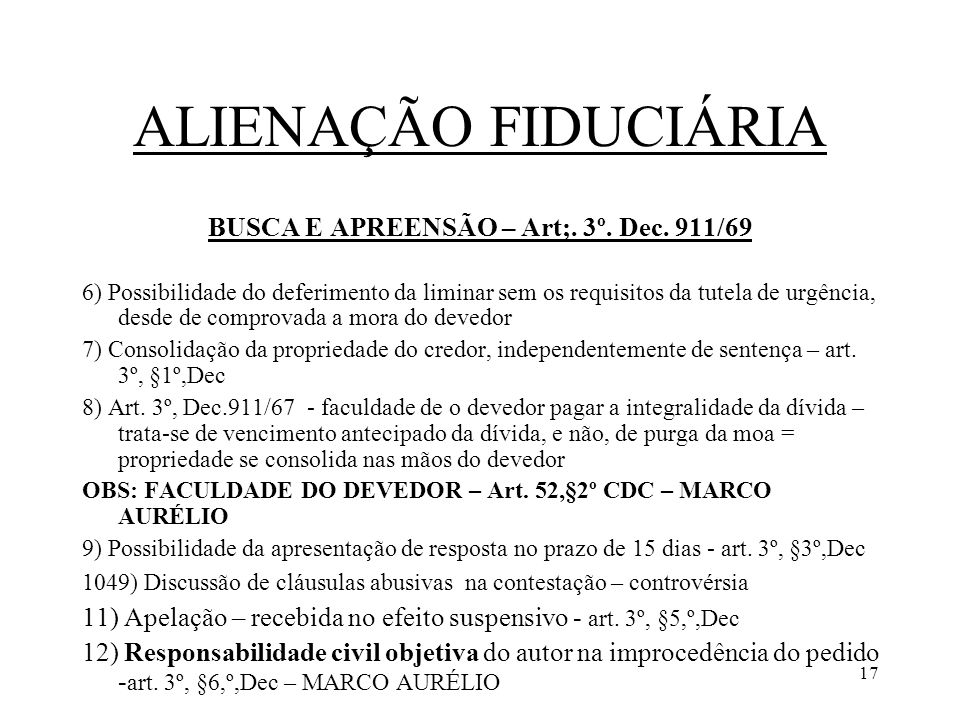 BUSCA E APREENSÃO – Art;. 3º. Dec. 911/69