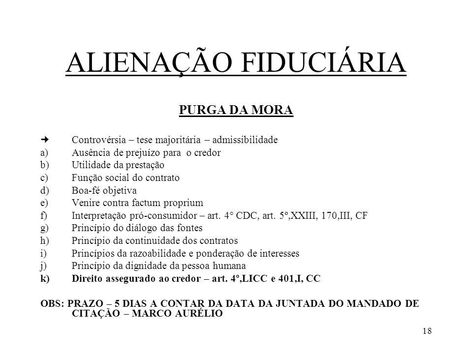 ALIENAÇÃO FIDUCIÁRIA PURGA DA MORA