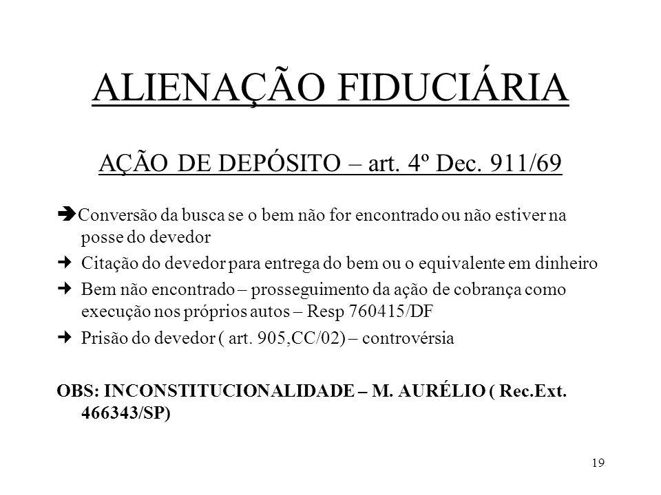 AÇÃO DE DEPÓSITO – art. 4º Dec. 911/69
