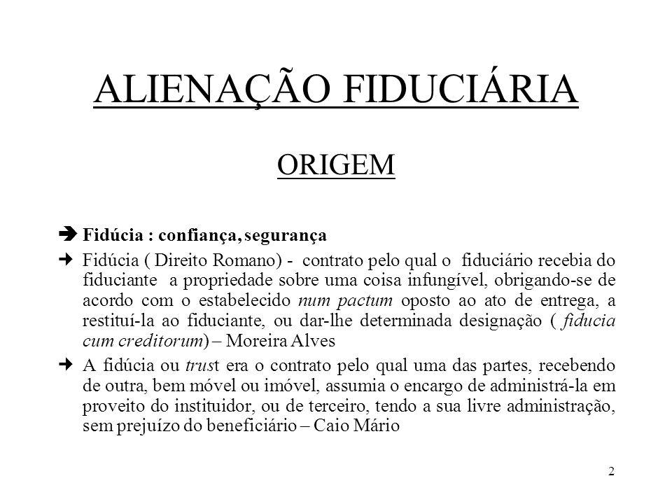 ALIENAÇÃO FIDUCIÁRIA ORIGEM  Fidúcia : confiança, segurança