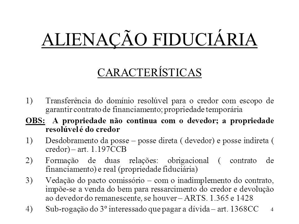 ALIENAÇÃO FIDUCIÁRIA CARACTERÍSTICAS