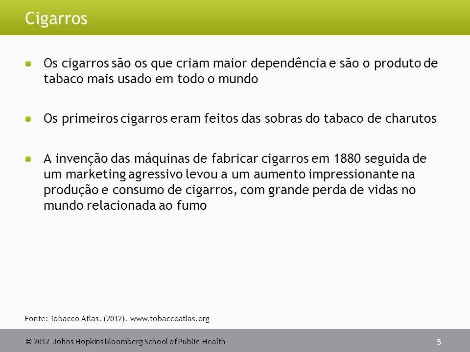 Cigarros Os cigarros são os que criam maior dependência e são o produto de tabaco mais usado em todo o mundo.