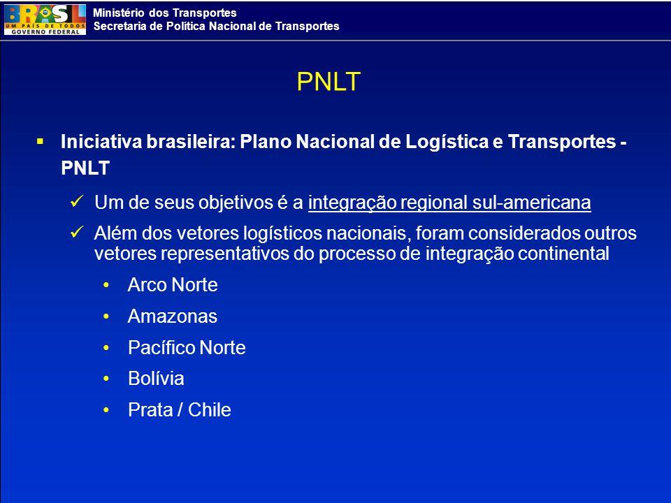 PNLT Iniciativa brasileira: Plano Nacional de Logística e Transportes - PNLT. Um de seus objetivos é a integração regional sul-americana.